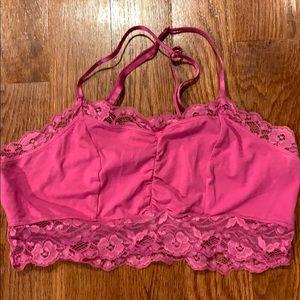 Hot Pink Lace Bra-let w/Satin Straps